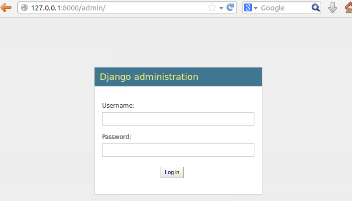 menu de login da interface administrativa do django